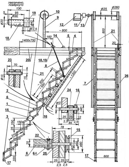 чертеж лестницы на чердак